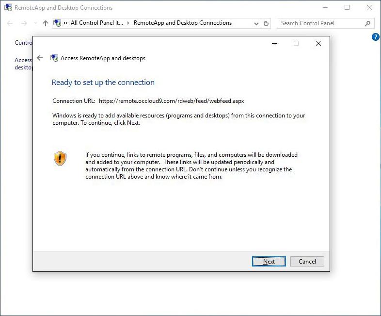 Windows Client Setup - Occloud 9